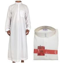 8eaeba566 الكاحل طول طويل الصلبة الأبيض البوليستر Jubba الثوب للرجال العربية مسلم  الإسلامية قفطان اللباس رداء رجل