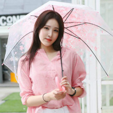 Semi-automatic umbrella Long-handle Cherry blossoms Transparent straight transparent For women