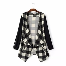 2016 New Women's Fashion Casual Regular Autumn Winter Coat Female Autumn Plaid Fall Outerwear for Women Coat Plus Large Size hot