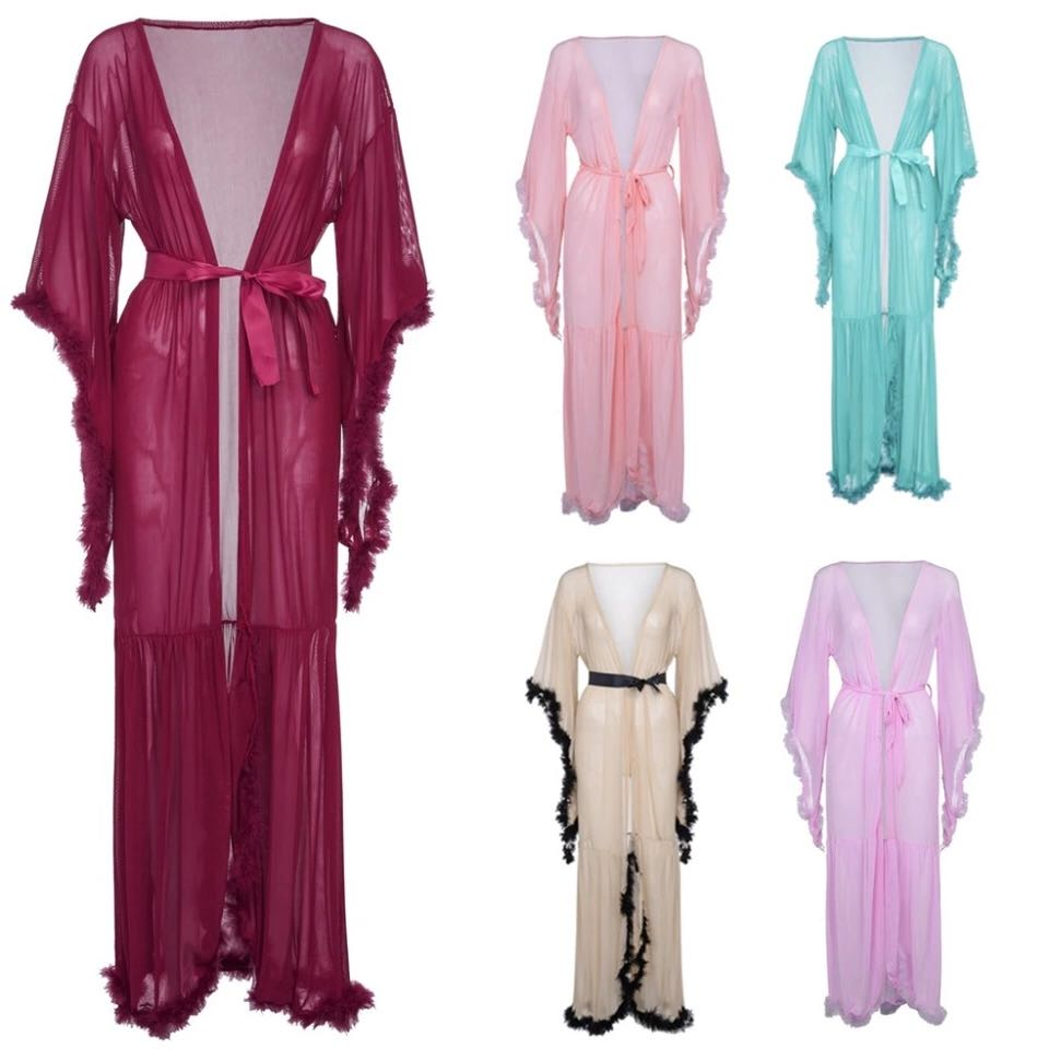 fb4086923a US $32.88 |Bridal Boudoir Robe Pink Purple Feather Bridal Robe Full Length  Womens Robes See through-in Robes from Underwear & Sleepwears on ...