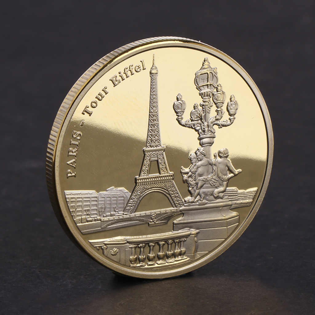 Pretty Commemorative Coin Paris Tower Building Collection Arts Gifts Alloy