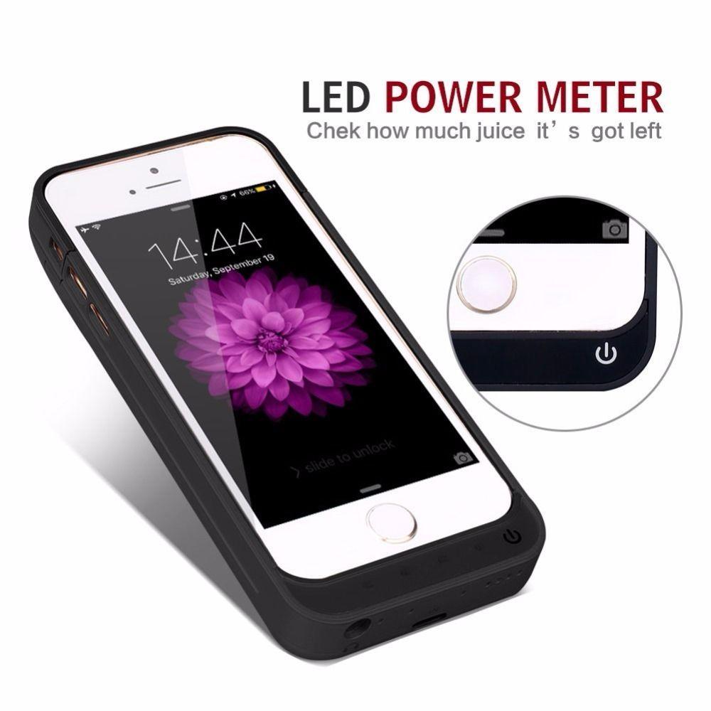 New External Battery <font><b>Charger</b></font> Portable Power Bank Cover <font><b>Case</b></font> <font><b>For</b></font> <font><b>iPhone</b></font> 5s 5c se Plus Alloy Metal Kickstand Charging Backup coque