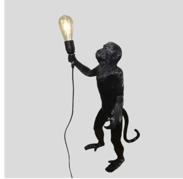Подвесной светильник из смолы черного и белого цвета с изображением обезьяны для гостиной, художественный салон, кабинет, светодиодный светильник s lustre с E27, светодиодная лампа с затемнением