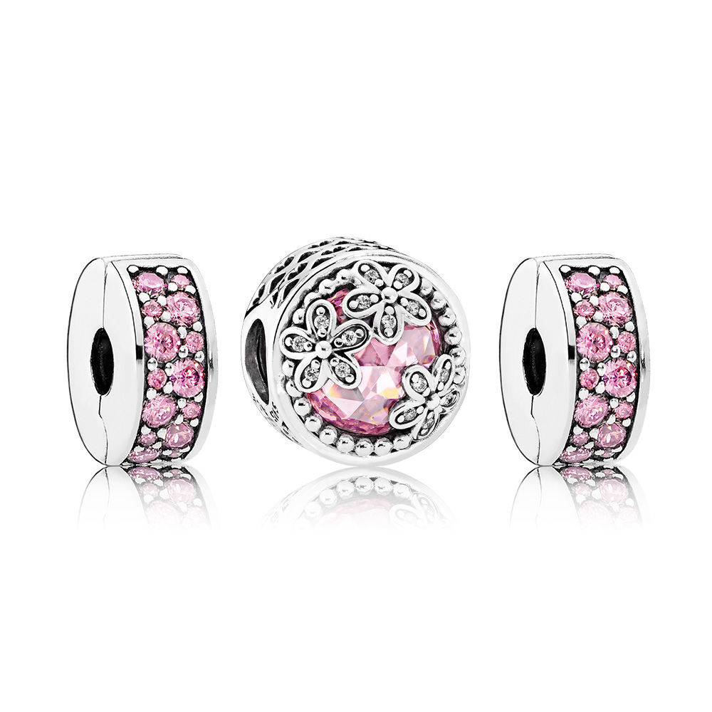 NEW CPPO 100% 925 Sterling Silver Pretty in Pink Charm Bead Set fit charms original Bracelets jewelry A SetNEW CPPO 100% 925 Sterling Silver Pretty in Pink Charm Bead Set fit charms original Bracelets jewelry A Set