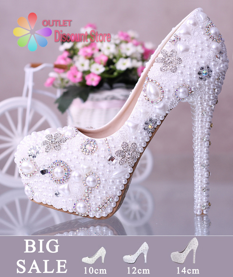 6de217cc4e106 BIG SALE Best Quality Handmade Wedding Shoes White Crystal High Heels Ivory  Pearl Bridal Stiletto Party Prom Celebrity SJW001-in Women s Pumps from  Shoes on ...