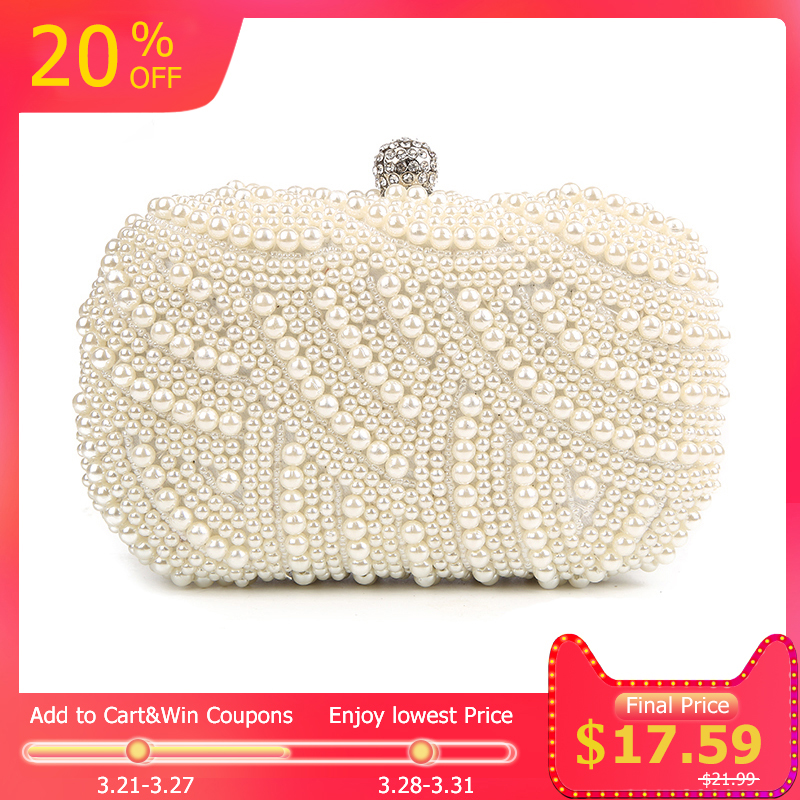 3bd804c549 100% Hand made Luxury Pearl Clutch bags Women Purse Diamond Chain white Evening  Bags for