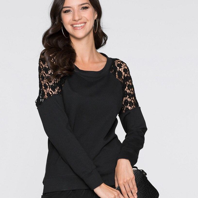 995fdd2e33 Negro T Camisas mujeres manga larga Encaje suelta Tops backless del  o-cuello espesar Hollow out otoño camiseta mujer nueva moda