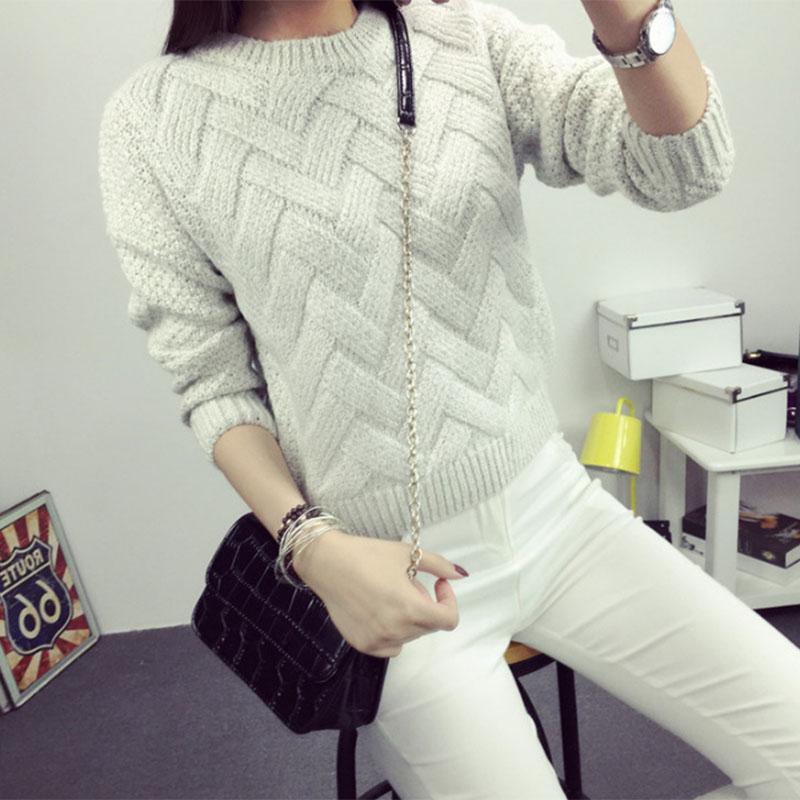 6cb3409756075 2018 Women Pullover Female Casual Sweater Plaid O neck Autumn and Winter  Style Korean Plaid Thick Knit Mohair Sweater-in Pullovers from Women's  Clothing on ...