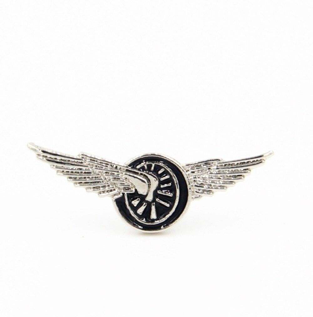 Wheel with Wings Metal Enamel Pin Badge Brooch Racing Winged Wheel