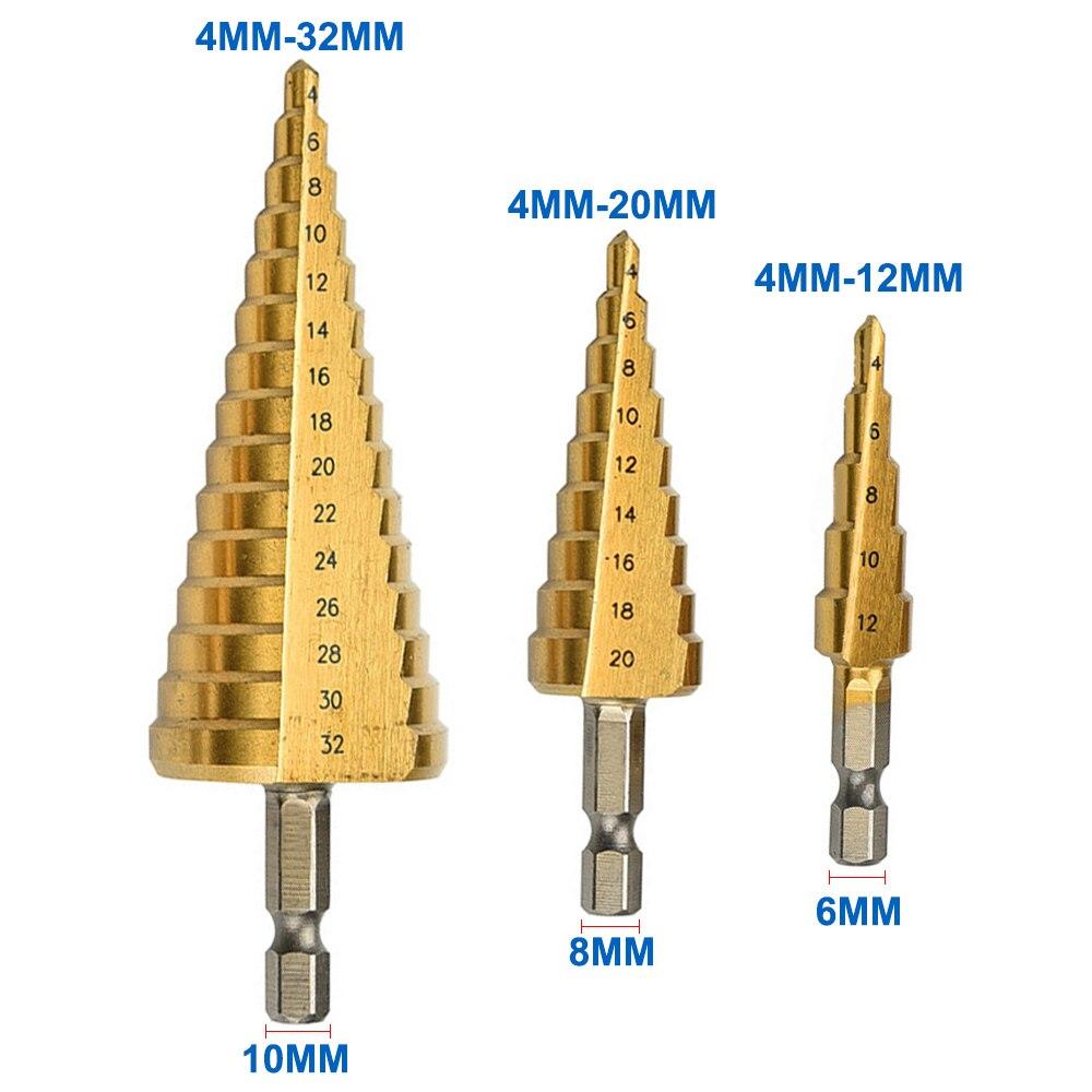 1pcs 4mm to 12mm 20mm 32mm HSS Steel Step Drills Bit Tool Set Hex Shank Coated Metal Drill Bit Cut Tool Set 3 pieces titanium coated hss spiral grooved core drill step drill bit set 4mm to 12mm 20mm 32mm cut tool set