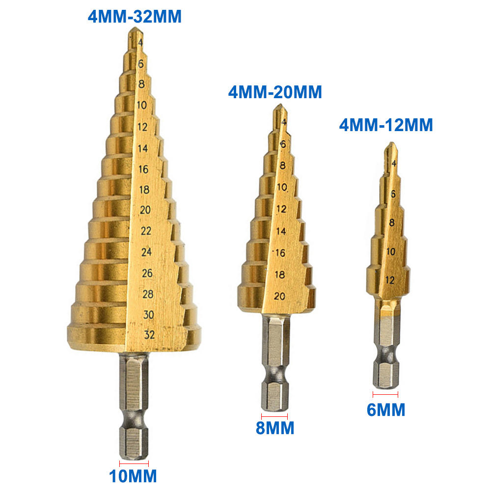 4mm to 12mm 20mm 32mm HSS Steel Step Drills Bit Tool Set Hex Shank Coated Metal Drill Bit Cut Tool Set top quality 2018 new fashion women 100