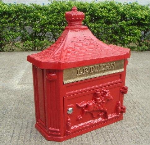 Красный Винтаж сад почтовый ящик настенный сад украшения чугуна почтовый ящик Европейская мода Винтаж ведро олова Post letter box