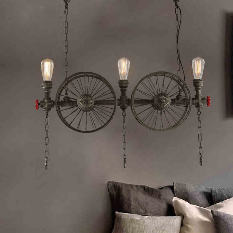 RH LOFT Metal Wheel Pendant Light Vintage Industrial Lighting American Aisle Hanging Lights Lamp 110V-220V