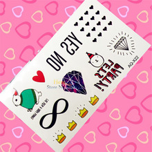 1PC Bow Japan Harajuku Fake Flash Temporary Tattoo Kids Body Art Arm Face Hand Tatoo Sticker HAQX22 Diamonds Heart School Tattoo