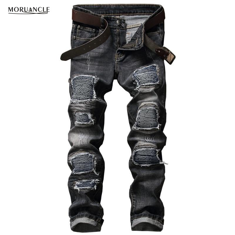 ФОТО Brand Designer Mens Biker Jeans Pants Fashion Hi-Street Motorcycle Denim Joggers For Youth Slim Fit Streetwear Trousers Black