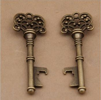 80pcs/lot Classic Creative Wedding Favors Party Back Gifts for Guest Antique Copper Skeleton Key Bottle Opener