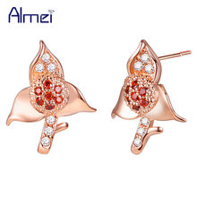 Almei 49% off Flower Earrings for Women Silver Brincos With Stones Vintage Rose Gold Color Orecchini CZ Zircon Jewelry R880(China)