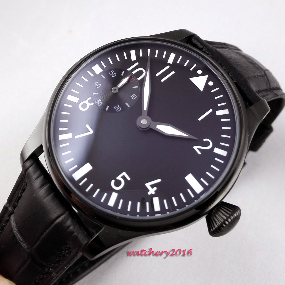 лучшая цена 44mm parnis black dial pvd case stainless steel case Luminous leather strap 17 jewels 6497 Hand Winding movement Men's Watch