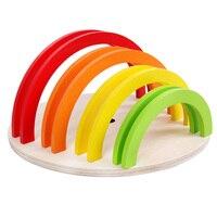 الأطفال الاستخبارات التعليمية سبعة لون قوس جسر على شكل شبه دائري بناء كتلة الإبداعية الإدراج من خشبية لعبة