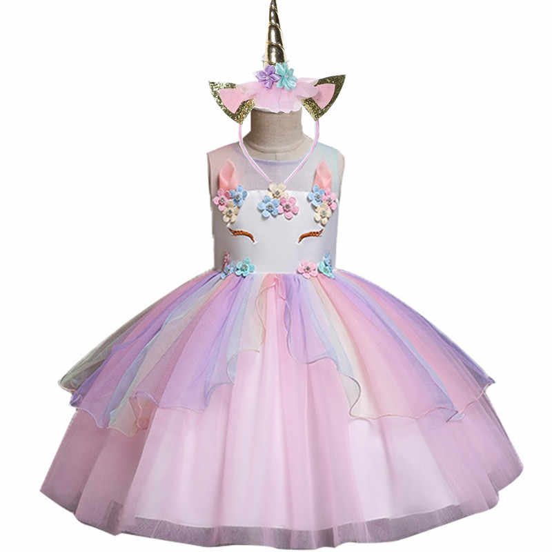 2019 unicorn summer new high-end children's princess dress baby rainbow mesh party dress girl role-playing pony children's wear