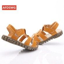 цена kids summer sandals 100% leather, tendon, soft end Yellow beach sandals kids white boys shoes sandals black kids sandals girls онлайн в 2017 году