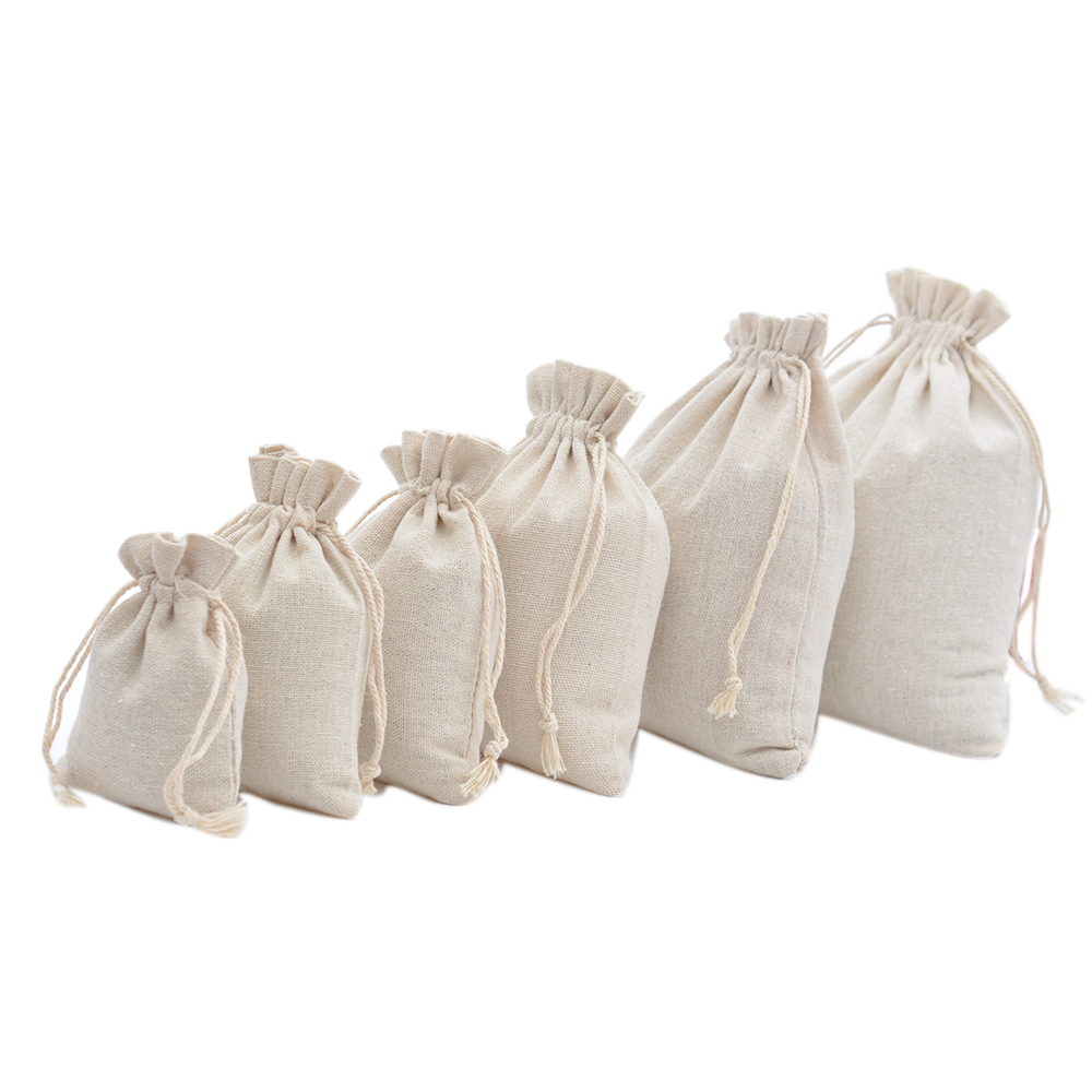 Handmade Muslin Cotton Drawstring Packaging Gift Bags For Coffee