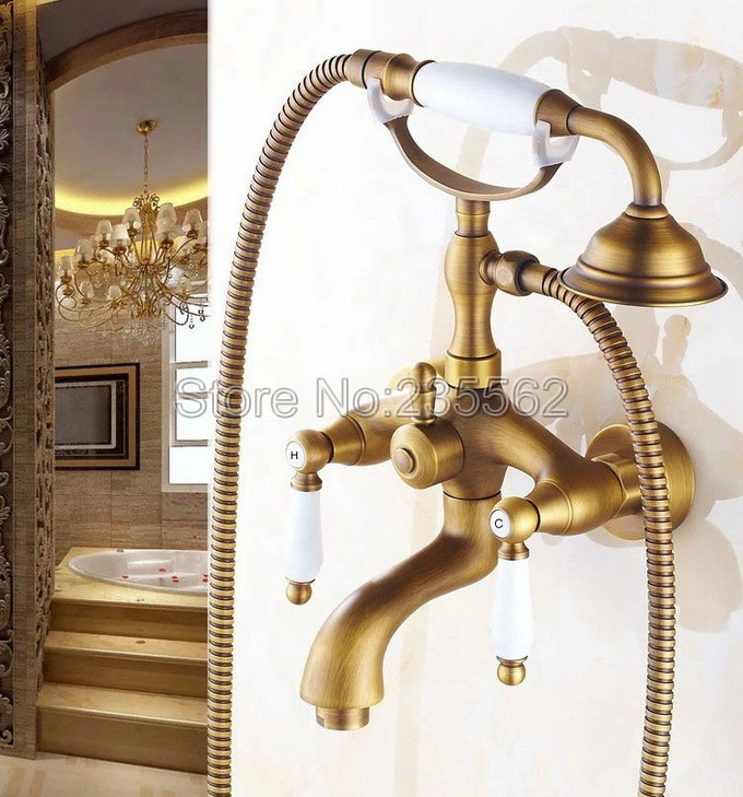 Antique Brass  Wall Mount Bathroom Clawfoot Bath Tub Faucet With Handheld Shower Head Cold Hot Mixer Tap ltf314Antique Brass  Wall Mount Bathroom Clawfoot Bath Tub Faucet With Handheld Shower Head Cold Hot Mixer Tap ltf314