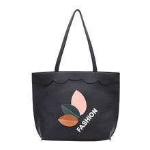 Fashion Women PU lether Autumn Winter Leaves Printing Handbag High Quality Ladies Casual Shoulder Bag Big