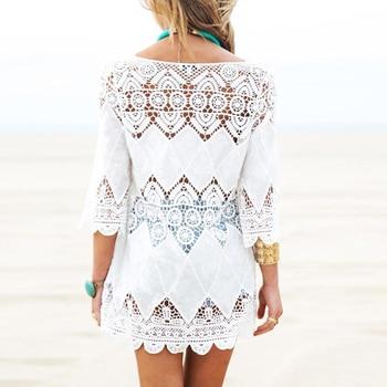 Balight Swimsuit Lace Hollow Crochet Beach Bikini Cover Up 3/4 Sleeve Women Tops Swimwear Beach Dress White Beach Tunic Shirt 6