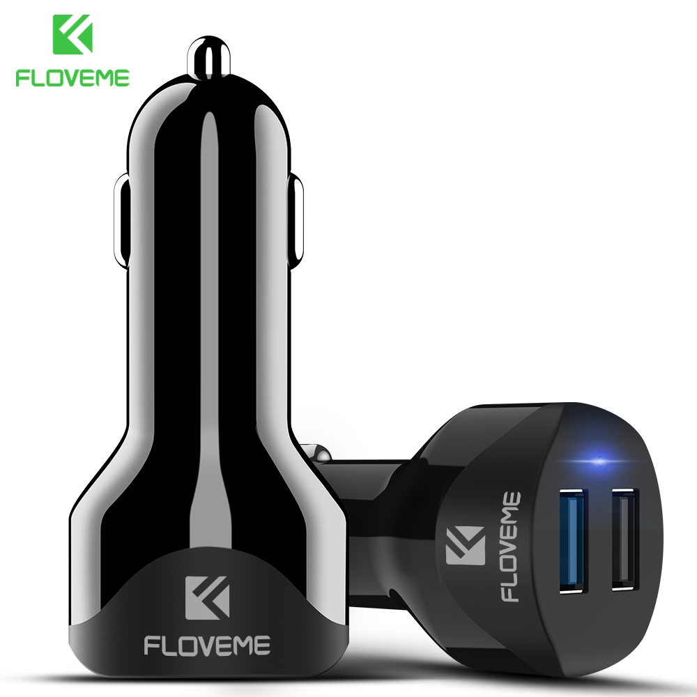 FLOVEME 5V/ 4.8A Dual USB Car Charger For iPhone X 8 7 Plus Car Lighter Car-charger Adapter Phone Chargers in Car For Samsung S8