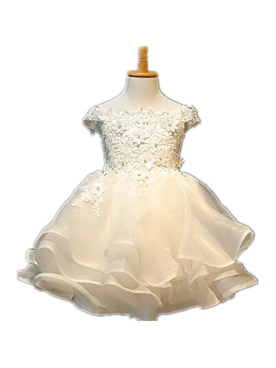 BABY WOW Baby Clothes 1 Year Birthday Dress Ivory Christening Gowns vestido Batizado Wedding Flower Girls