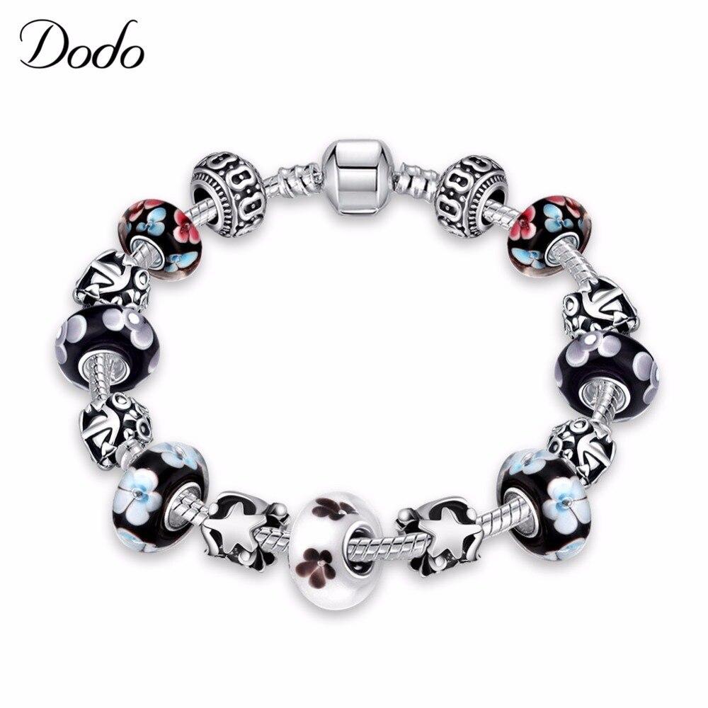 2017 New Fashion Mix White & Black Glass Beads Charm Bracelet Women Antique  Silver Plated Stars