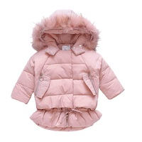 Baby Parkas Coats For Girls Clothing Thick Fur Collar Winter Jackets 2 3 4 5 6 7 8 9 10 11 12 Years Warm Cotton Girls Outerwear
