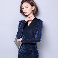 2018 neue Frauen Frühjahr T-shirt Damen Elegante V-ausschnitt Dünne Lange hülse T-shirt Koreanische Chic Tasten Schmücken Grund Tees Größe M-5XL