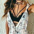 Sensuais Topos de Culturas Bustier Do Vintage Rendas de Croché Oco Floral Blusa Com Decote Em V Vest Camisoles Sutiã Tiras Mulheres Halter Tops