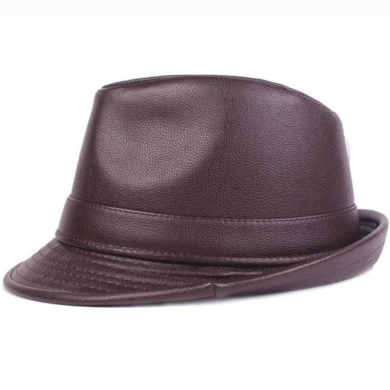 HT2205 Fedoras Mùa Thu Mùa Đông cho Nam Giới PU Da Hat Jazz Nam Rắn Mũ Fedora Người Cao Tuổi Người Đàn Ông Đồng Bằng Trilby Derby mũ Đàn Ông Mũ