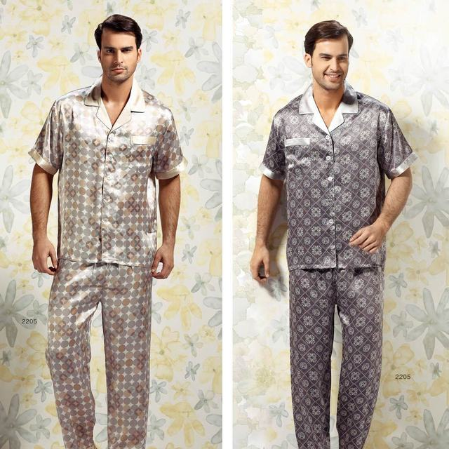 Mulberry silk sleep set lounge male summer short sleeve length pants print yr2223