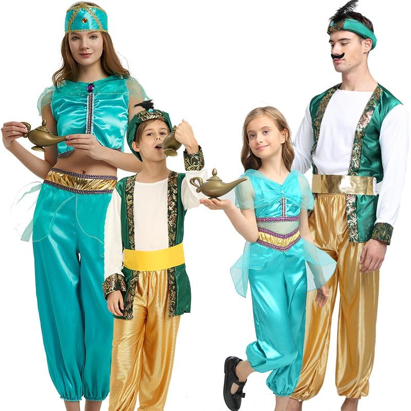 Us 16 0 Adult Children Halloween Party Aladdin Costumes Aladdin Lamp Genie Costume Adam Prince Fantasia Boy Party Arab Clothing Kid On Aliexpress