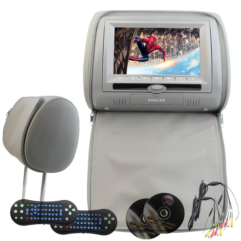 A Pair of Headrest monitor LCD Car vehicle Pillow Monitors CD DVD Player Dual Twin Screen USB SD IR FM Transmitter 32 Bit Games