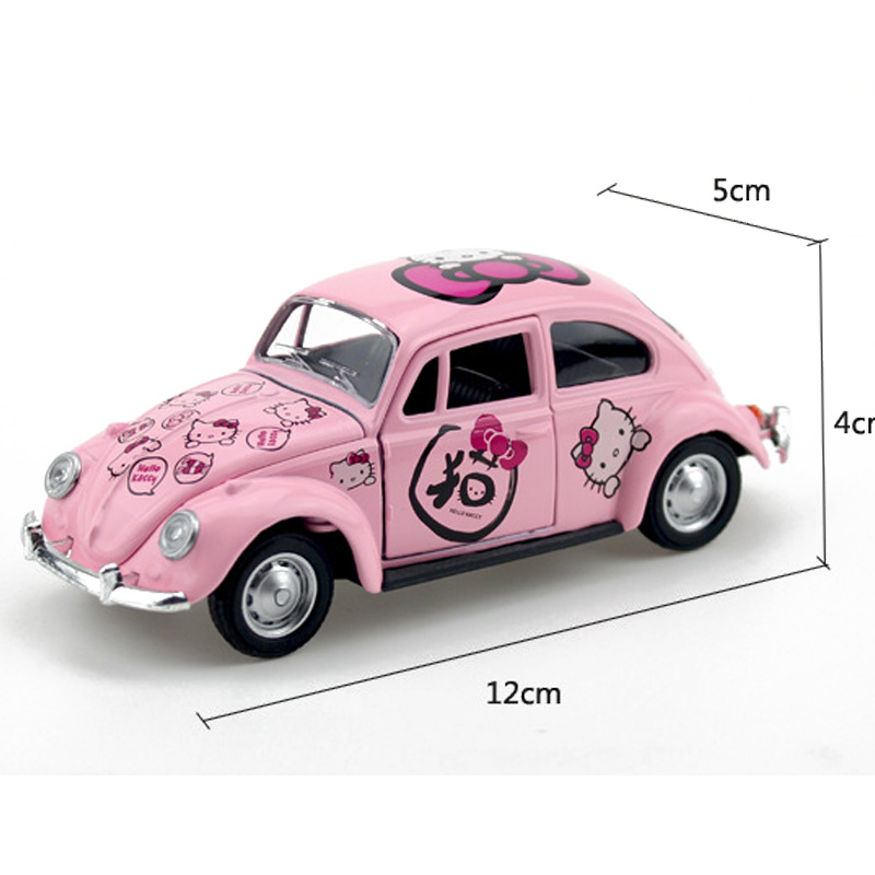 Hello Kitty Diecasts  Toy Vehicles Alloy Car Children's Toy Cartoon Simulation Mini Car Flash Pull Back Toy For Children Gift