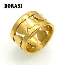 Женское кольцо borasi Брендовое с сердечком anel титановой сталью