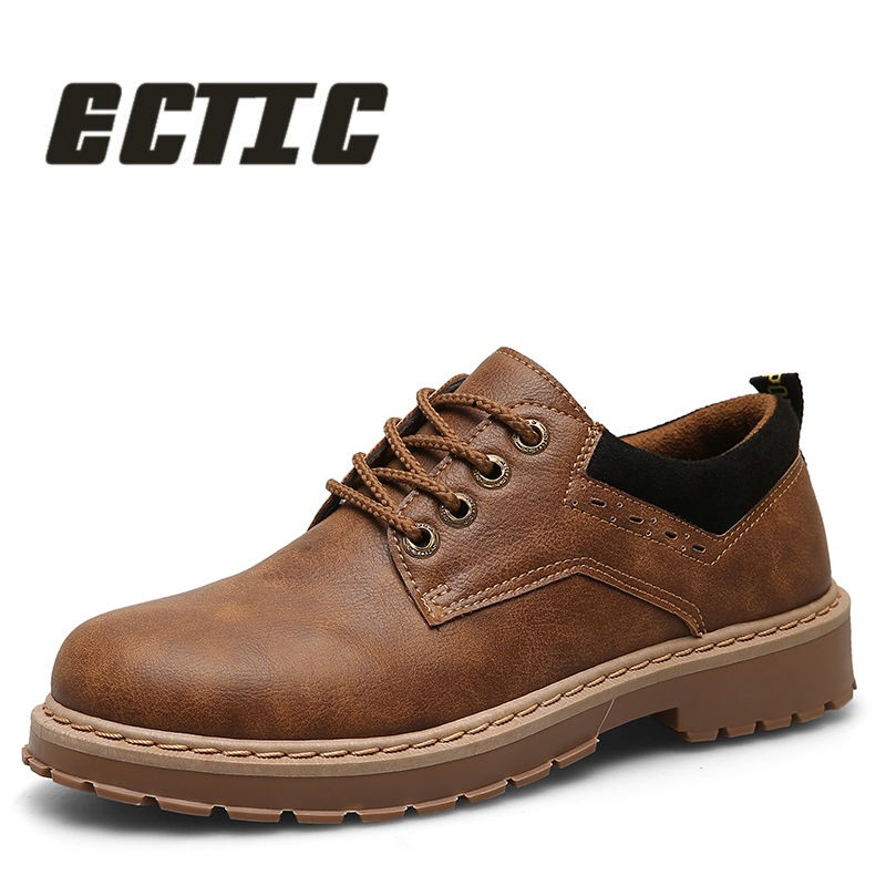 ECTIC 2018 New young Fashion Comfortable oxfords shoes rubber outsole Anti-skid shoes Men's casual leather Driving shoes AA-022