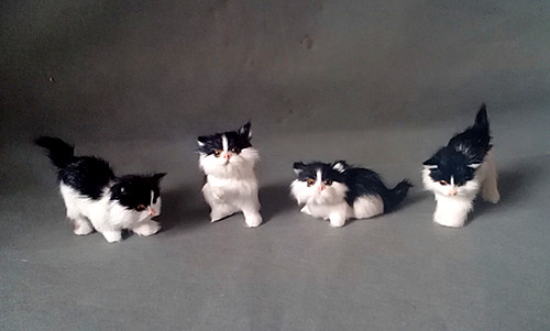 Conscientious Mini Cats Hard Model About 11cm,polyethylene&fur Black&white Cats One Lot/ 4 Pieces,prop,home Decoration Xmas Gift 0947 With The Most Up-To-Date Equipment And Techniques Toys & Hobbies Stuffed & Plush Animals