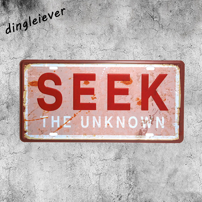 The word SEEK unknown License plate vintage metal sign posters for college dorm