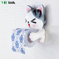 Creative Cartoon Toilet Paper Towel Rack 3D Cat Dog Punch free Hanging Paper Towel Holder Home Bathroom Tissue Holder Rack Stand