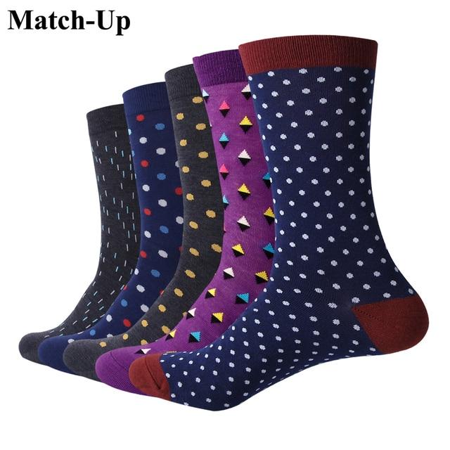 Классические хлопковые носки в горошек для мужчин, повседневные носки с узором ромбиками, размеры 7,5 12 (5 пар/партия) США
