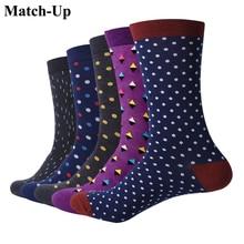 Calcetines de algodón con puntos de negocios para hombre, calcetín clásico, informal, argyle, para negocios, 5 par/lote, US 7,5 12