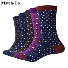 Match Up Men Classic business dots Cotton  Socks argyle Casual Crew Socks  business so(5 Pairs/Lot) US 7.5 12