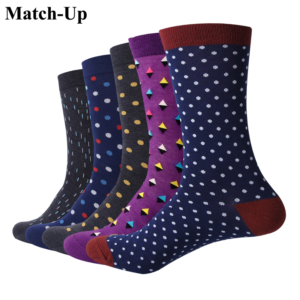 Match-Up Men Classic business dots Cotton   Socks   argyle Casual Crew   Socks   business so(5 Pairs/Lot) US 7.5-12