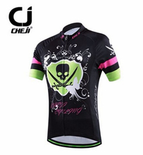 CHEJI Women's Cycling Clothing Bike Cycling Jersey MTB Shirt Black Skull